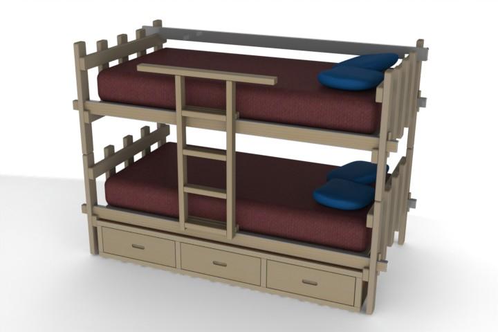 Blocos fp 3d cama beliche 3d blocos fabrica do projeto for Cama 3d autocad