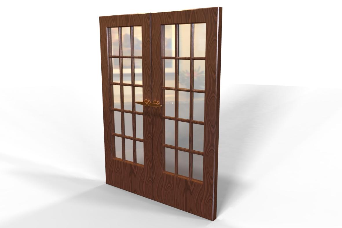 Blocos FP 3D: Porta Residencial duas folhas – Blocos Fabrica do  #4D2E22 1181 787