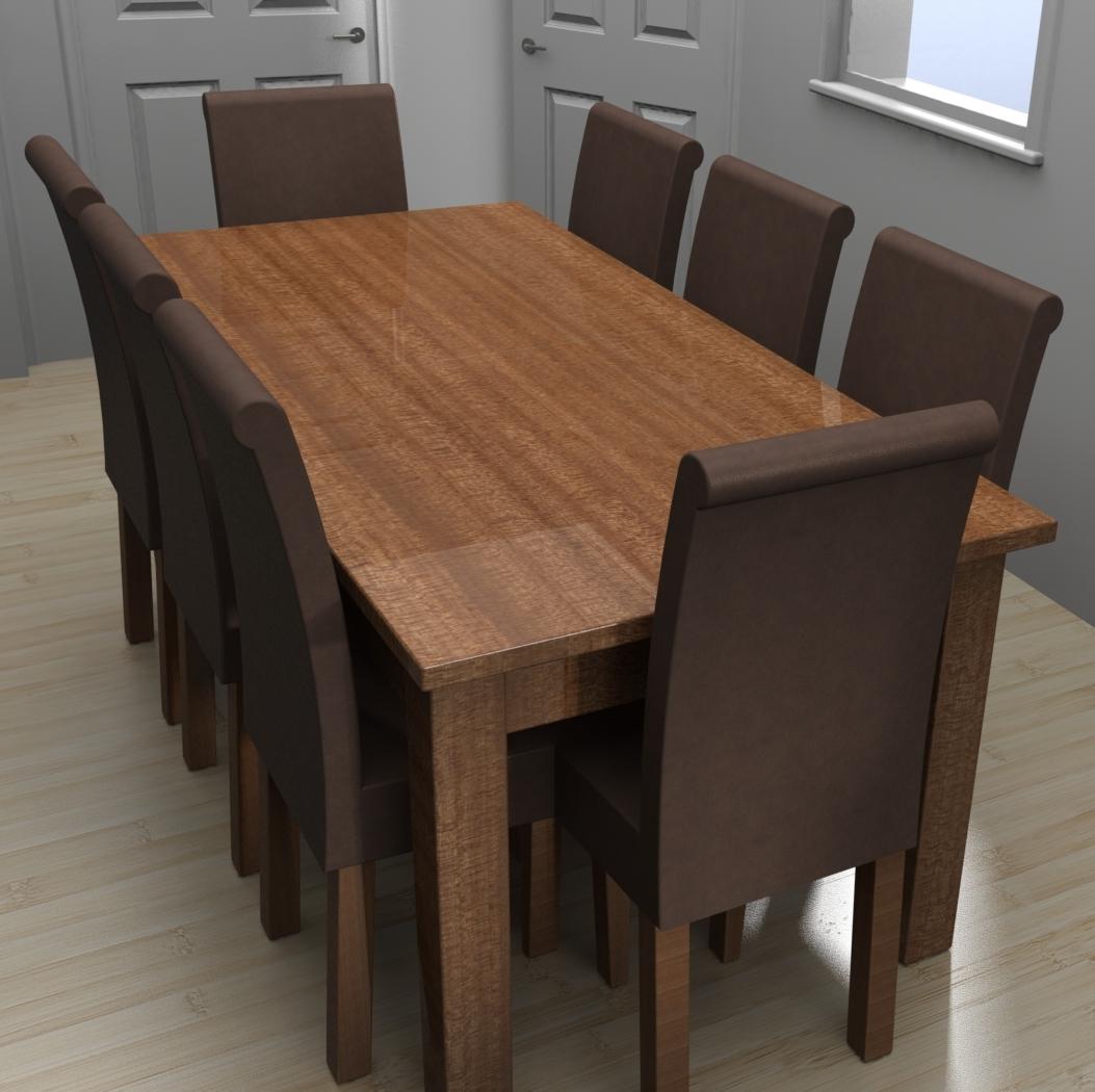 Blocos FP 3D:  Mesa de Jantar com cadeiras – 8 lugares