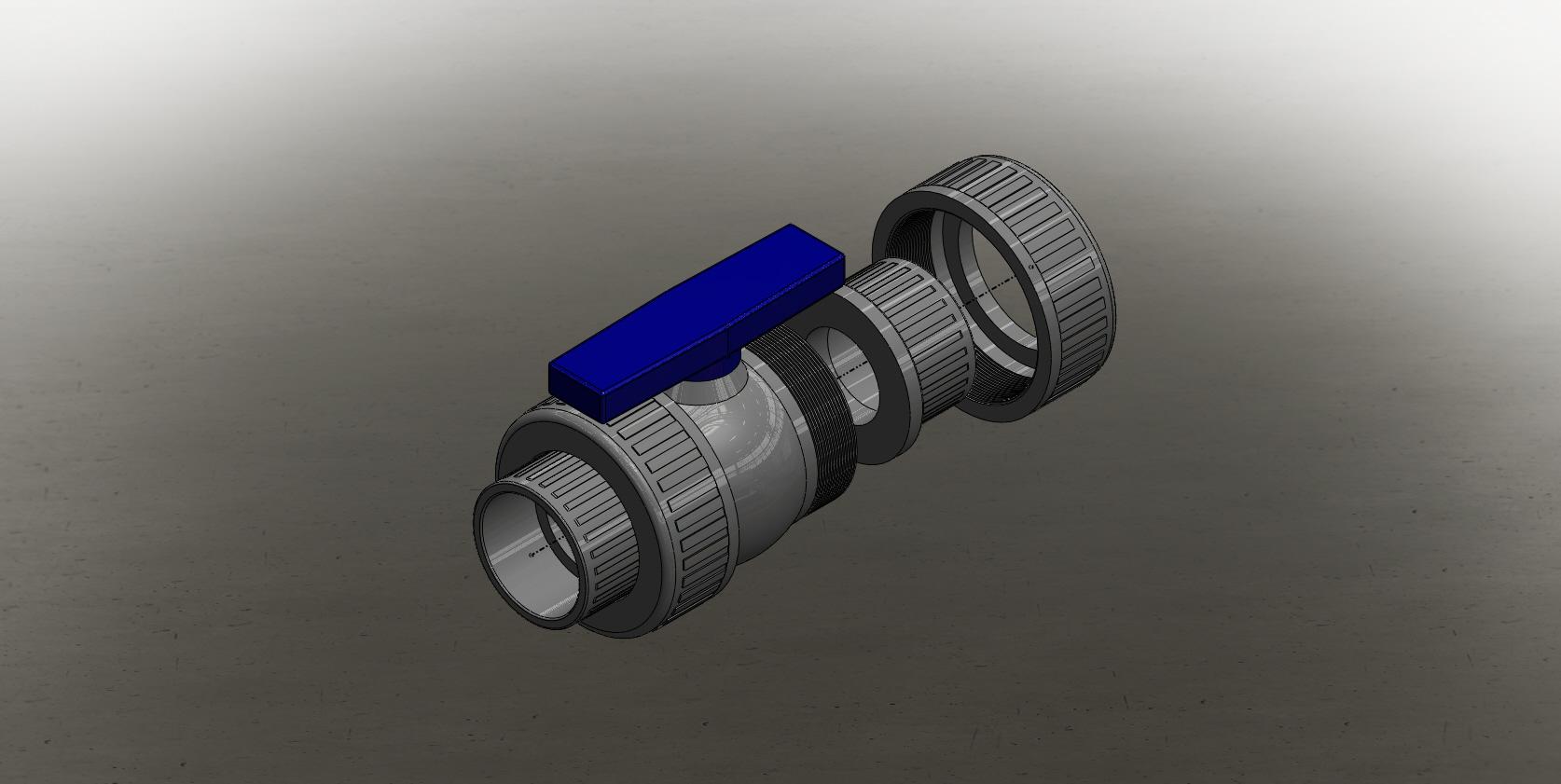 Blocos FP 3D:  Válvula Esfera Termoplástica 3″