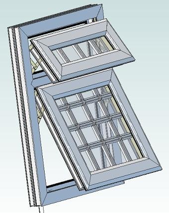 Blocos FP 3D:  Janela Basculante T1 3D