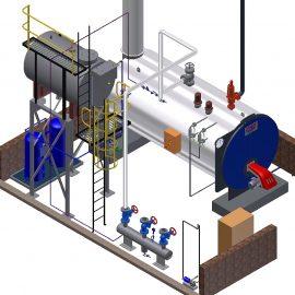 Blocos FP 3D:  Casa de Caldeira: Caldeira e Boiler 3D